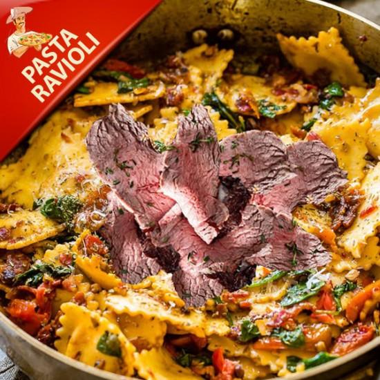 Pasta ravioli med kalve fillet, champignon, trøffelsovs og parmesan