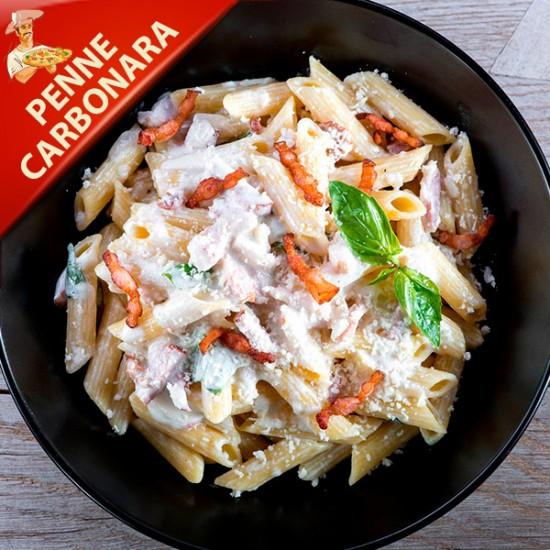 Spaghetti Carbonara med bacon, øko æg, fløde, parmesan ost