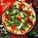 Pizza Campana med tomat, mozzarella, salsiccia (italiensk kødfars), spinat og pecorino ost
