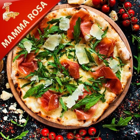 Pizza Mama Rosa med tomat, mozzarella, kødstrimler, gorgonzola, bacon og chili