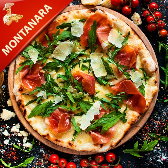 Pizza Montanara med tomat, mozzarella, pepperoni, bacon og champignon